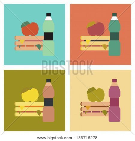 assembly flat icons school sandwich apple water
