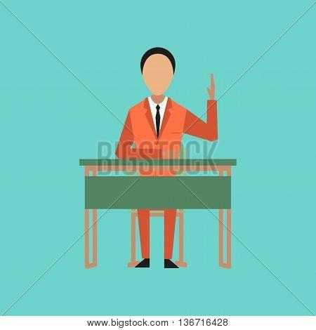 flat icon on stylish background school pupil at school desk