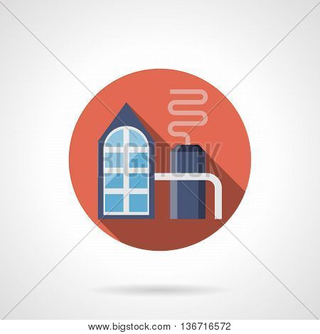 Abstract petrochemical plant with pipeline. Refinery oil distillation. Power and energy industry. Factories and industrial facilities. Round flat color style vector icon.