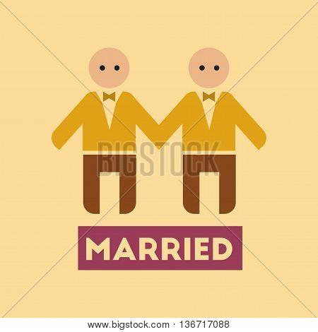 flat icon on stylish background gays newlyweds wedding