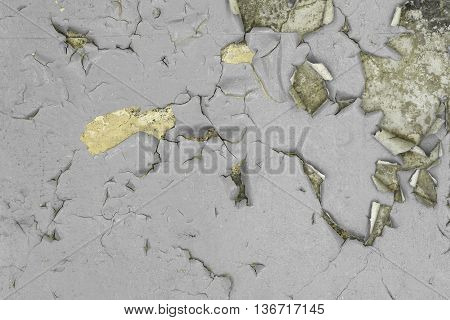 Cracked and Peeling Grey Paint Wall Texture