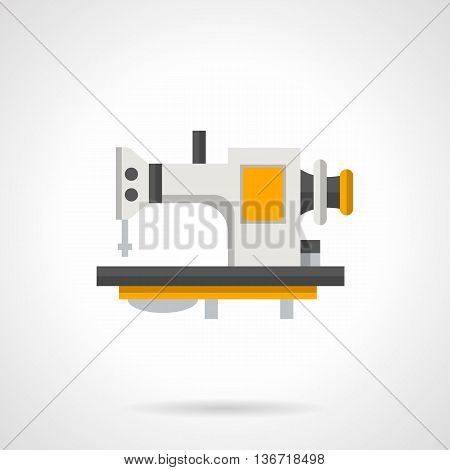 Sewing machine with treadle control. Professional workshop equipment. Manufacture of garments in industry, custom tailoring atelier. Flat color style vector icon.
