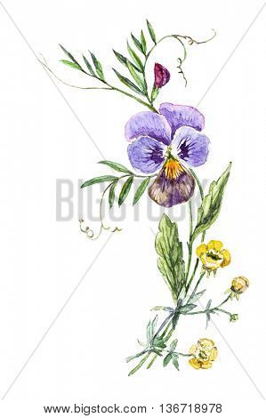 Watercolor bouquet of flowers with pansies