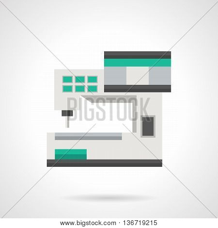 Computer sewing machine with control panel display. Industrial technology, professional tailoring. Flat color style vector icon.