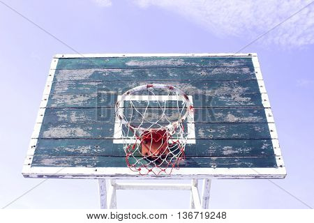 Basketball hoop on blue sky background texture