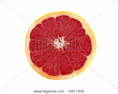 Half Grapefruit on White Background