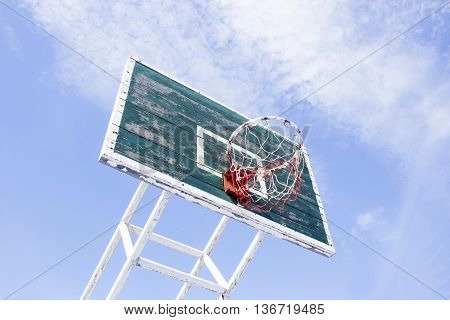 The Basketball hoop with blue sky background