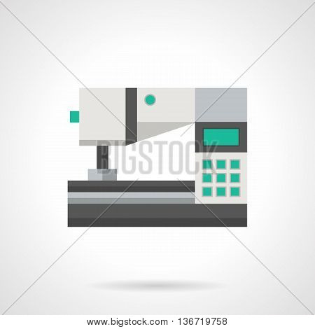 White automatic sewing machine with green keyboard. Industrial modern digital equipment. Factory sewing garments, sewing lessons. Flat color style vector icon.