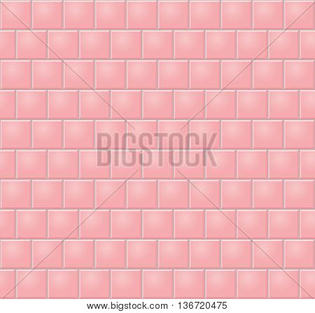 Pink Wall Tiles. Seamless Vector Illustration Of Pink Wall Tiles
