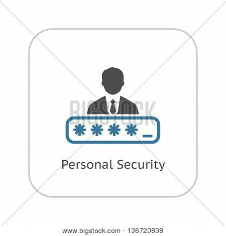 Personal Security Icon. Flat Design. Security Concept with a man and a Password box. Isolated Illustration. App Symbol or UI element.
