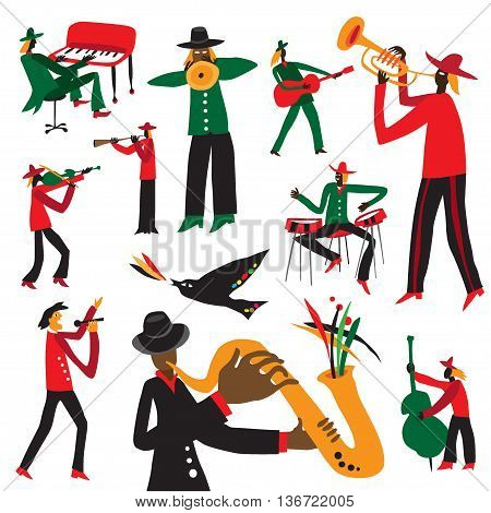 jazz musicians - set vector illustrations , design elements