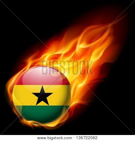 Flag of Ghana as round glossy icon burning in flame
