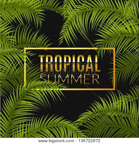 Tropical summer design poster template. Summer vacation with leafs. Jungle paradise.