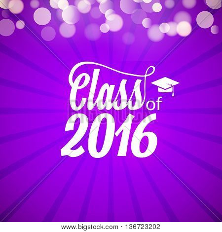 Hand drawn lettering typography Class of 2016. Graduation icon lable. Lettering for graduation design, congratulation party. High school or college graduate.