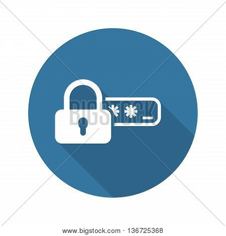 Safety Access and Password Protection Icon. Flat Design. Security Concept with a Padlock and a Password box. Isolated Illustration. App Symbol or UI element.