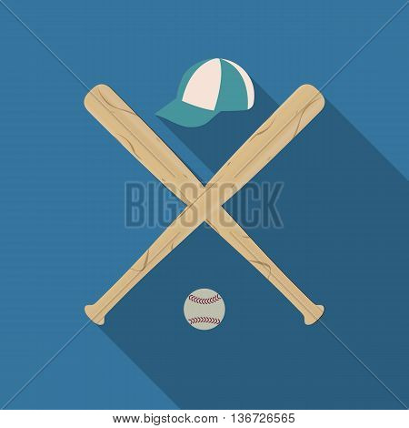 Baseball icon with two wooden baseball bats caps and Ball a long diagonal shadow vector illustration.