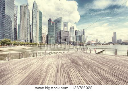 SINGAPORE - JULY 24: View of skyscrapers in Marina Bay on July 24, 2014 in Singapore.