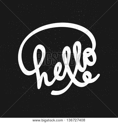 Hello lettering. Can use for greeting card poster t-shit etc. Lettering element for design. Hello on black background. Vector illustration.