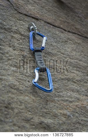 Climbing. A Safety Bolt With A Carbine