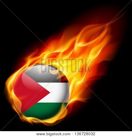 Flag of Palestine as round glossy icon burning in flame