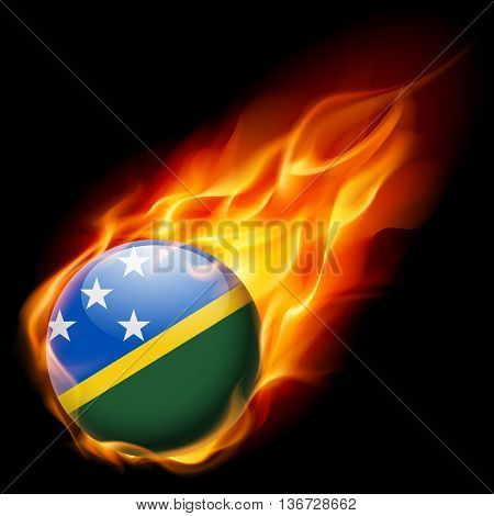 Flag of Solomon Islands as round glossy icon burning in flame