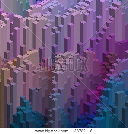 Abstract Background With Cube Decoration. Vector Illustration. Pink, Purple, Blue Colors.
