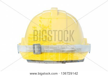 Double exposure of Front view of Yellow Safety Helmet
