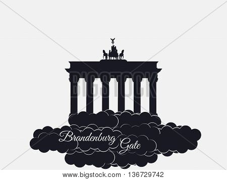 Brandenburger Gate Isolated On White Background. Brandenburger Tor In The Clouds. The Symbol Of Berl