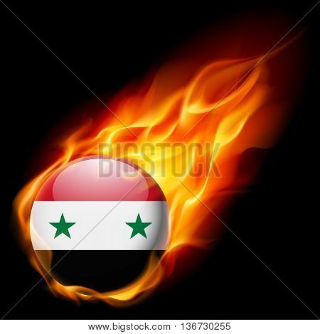 Flag of Syria as round glossy icon burning in flame