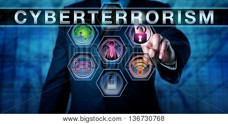 Close up on torso of government agent or white collar worker raising his left hand to touch the word CYBERTERRORISM on a virtual control screen. Cracked padlock and hacker icon light up in purple.