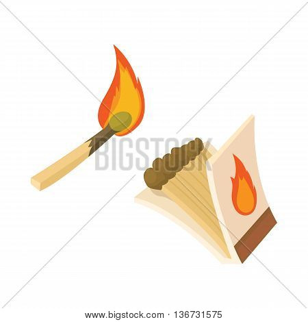 Box of matches and burning match icon in cartoon style isolated on white background. Burning symbol