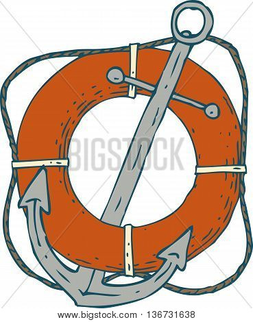 Steel Ship Anchor and Red Lifebuoy. Isolated On A White Background