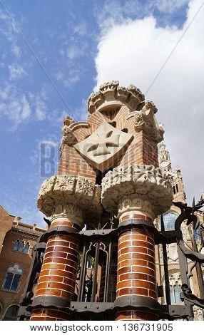 BARCELONA SPAIN - OCTOBER 08 2015: Details of the entrance of former monastery and hospital Recinte Modernista de Sant Pau in Barcelona Spain