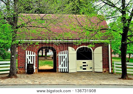 Old Salem North Carolina - April 21 2016: Market Fire Engine House on Main Street *