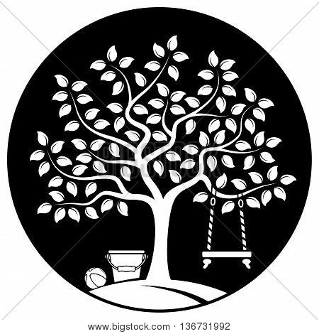 vector tree with swing, bucket and ball isolated on black round