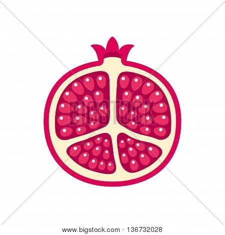 Pomegranate vector logo. Cartoon illustration of pomegranate cut in half on white background. Bright red fruit with shiny seeds.