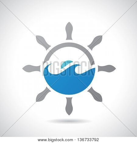 Vector Illustration of an Sea and Rudder Icon isolated on a white background