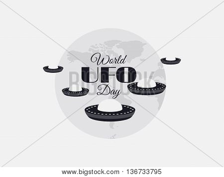 World UFO Day planet and spaceship. Flying saucer. UFO icon vector illustration.