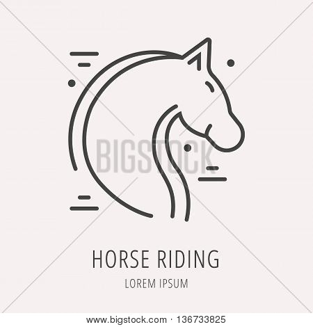 logo or label horse riding. Line style logotype template. Easy to use business template. Vector abstract logo or emblem.