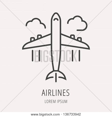 logo or label airlines. Line style logotype template. Easy to use business template. Vector abstract logo or emblem.