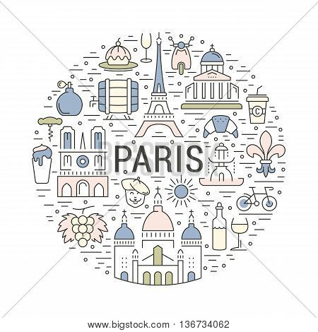 France and Paris City concept. Symbols isolated on background. Web banner with scooter wine architecture cycle and culture thing. France illustration. Paris vector label. Vector emblem Paris.