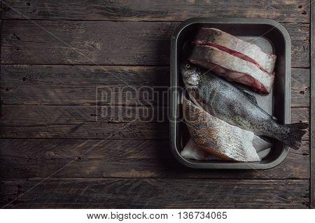Raw Fish In An Iron Bowl On A Wooden Background For Instagram And Posts