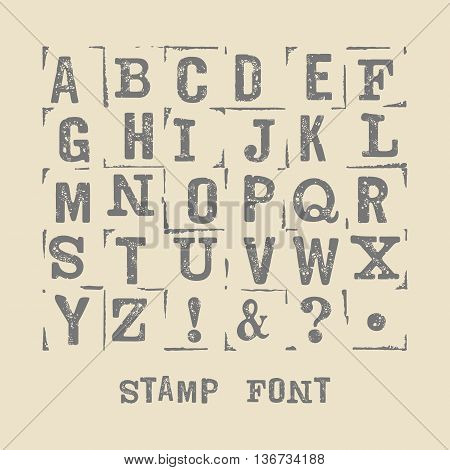 Vector latin alphabet. Vector font with grange texture. Vector isolated font on white background. Modern print letters with stamp texture. Vector stamp font.