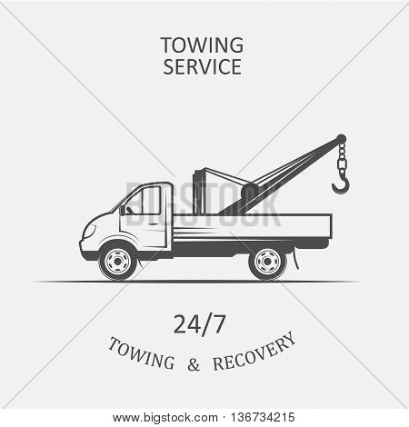 truck for towing and recovery - vector illustration