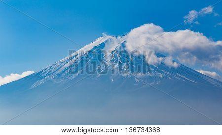 Fuji mount close up with blur sky, natural landscape background