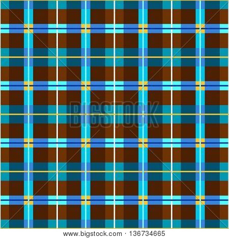 Background seamless, brown and blue-green rectangles, vector.  Vector geometric background with brown and blue rectangles, yellow squares, and thin strips. For the decoration. Seamless pattern for textiles and printing.