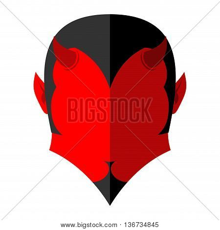 Red Devil  Icon. Demon Sign Flat Style. Heck With Horns. Crafty Satan.  Prince Of Darkness And Under