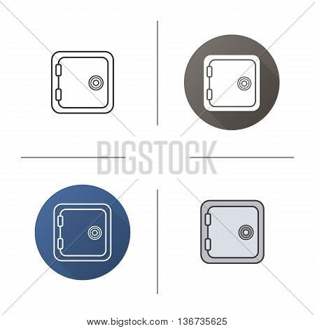 Deposit box icon. Flat design linear and color styles. Bank vault isolated vector illustrations