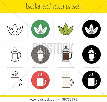 Tea icons set. Flat design linear black and color styles. Loose tea leaves french press hot steamy mug. Isolated vector illustrations