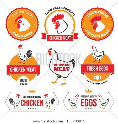Set of colored labels and emblems of chicken meat and eggs in vector
